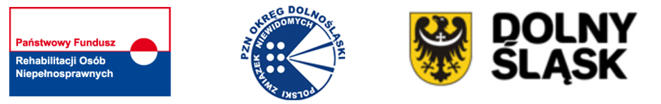 Logo PFRON, PZN Okręg Dolnośląski, Urzędu Marszałkowsiego Województwa Dolnośląskiego