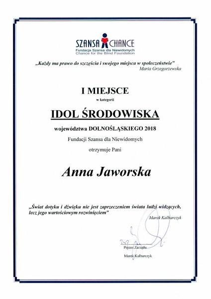 doplom dla Anni Jaworskiej - za zwycięstwo w głosowaniu w konkursie Idol 2018
