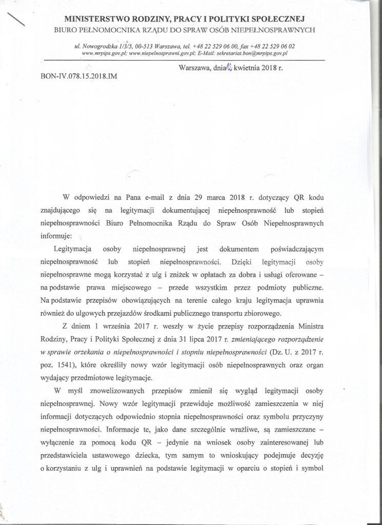 Odpowiedź MRPiPS strona 1